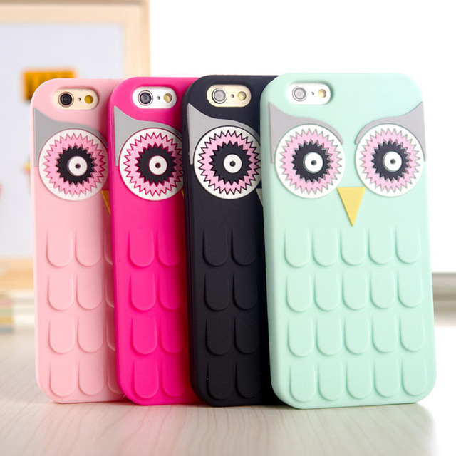 New Arrival 3D Cute Cartoon OWL Soft Silicon Rubber Phone Case Cover For Apple iPhone 7 7Plus 4 4S 4G 5 5S 5G 6 6S 6 Plus 5.5