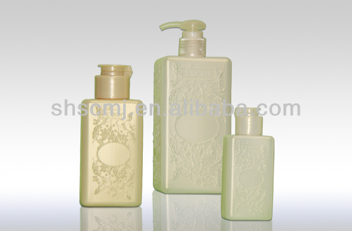 Square Plastic Shampoo Bottles with Plastic Pump