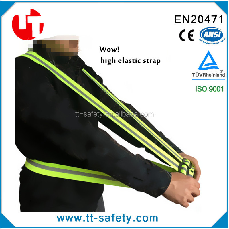 easy to adjust high visibility reflective strap safety vest Ideal for running, jogging, cycling, walking, motorbike and working