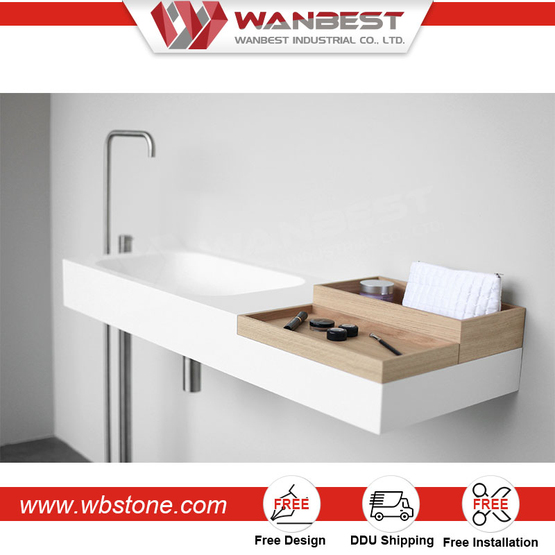 high quality 100% pure acrylic toilet wall hung solid surface artificial stone small cera wash basin price in india