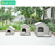 KD All weather Resin Wicker Dog House for Cats or Medium Large Sized Dogs