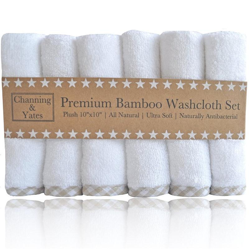 Premium Organic White Bamboo 2X as Thick & Soft baby bath washcloths 100% natural bamboo towel set