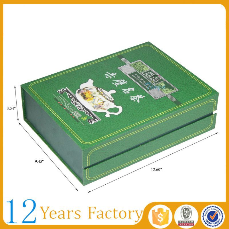 Book shaped green packaging paper tea box