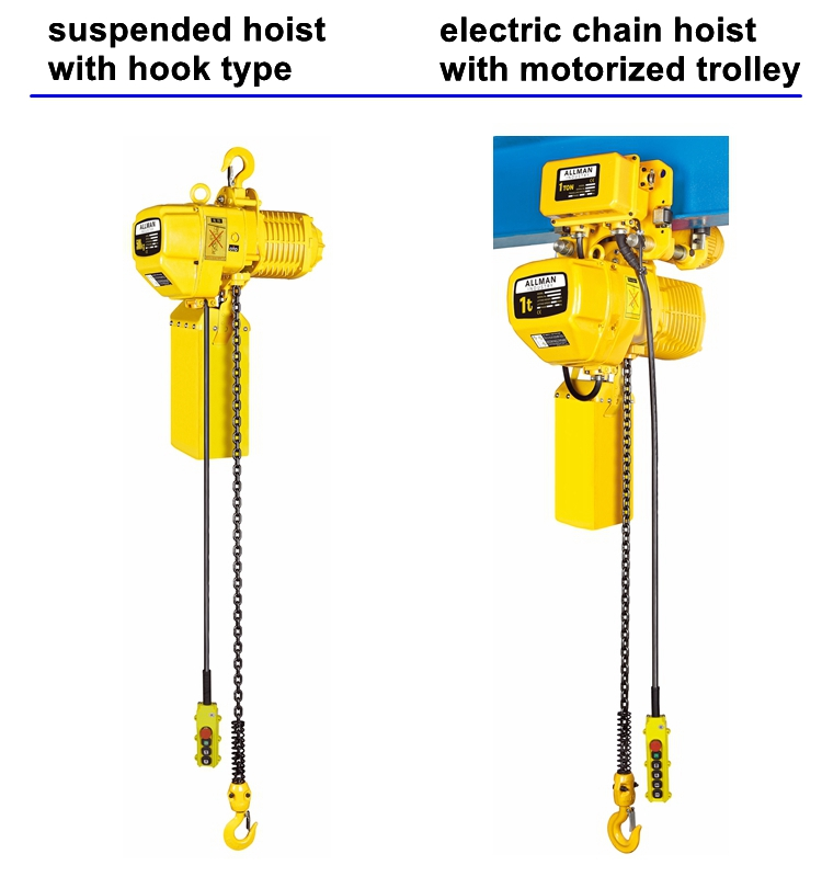 ALLMAN kito type CE approved 220/440Volt 3Ph 1 ton electric chain hoist