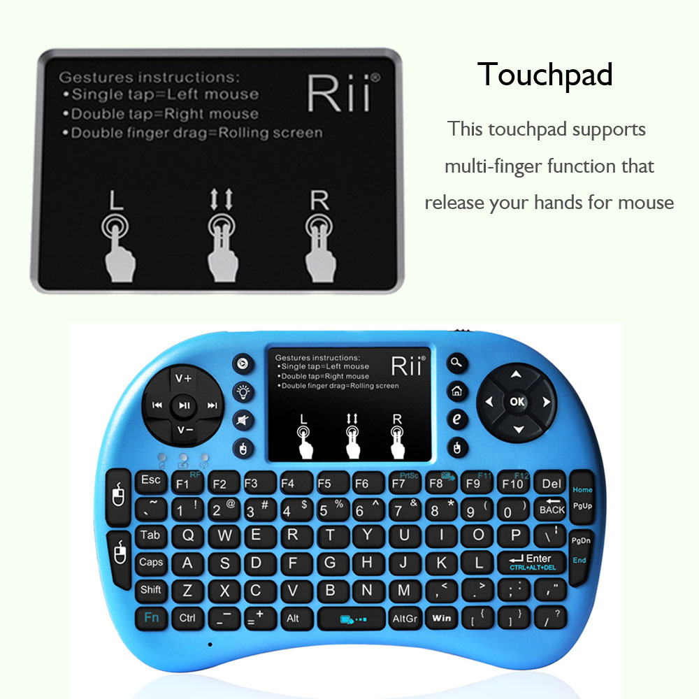 Rii i8 + Backlit mini keyboard Wireless Keyboard 2.4G with Touchpad Handheld Keyboard for smart tv
