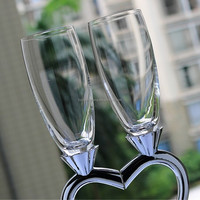 lead free heart shape champagne flutes crystal goblet 170ml wedding toasting drinking wine glasses with metal stand