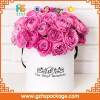 paper flowers box craft kraft paper tube white cardboard round gift box for rose flower packaging