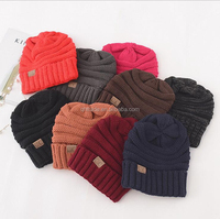 Fashion 17 Colors Available Unisex Solid Color Warm Ski Cap Winter Knitting Hats Plain CC Beanie Hats