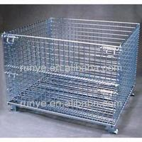 Returnable Collapsible storage pallet mesh contianer warehouse cage with runner bars