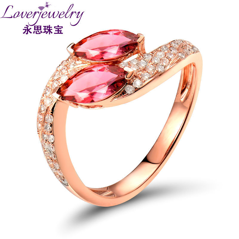 Newest Design Marquise Cut Pink Tourmaline Diamond In Solid 18 KT Rose Gold Ring Wholesale Natural Stone Jewelry 49TOU-SR00133