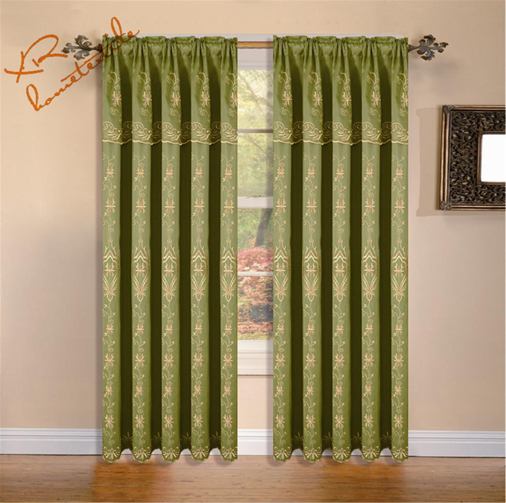 The curtain embroidered with attached valance 100% polyester fabric