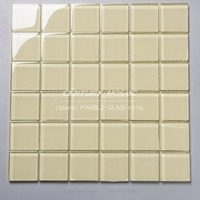 factory supply 48x48mm yellow square crystal glass mosaic tile price