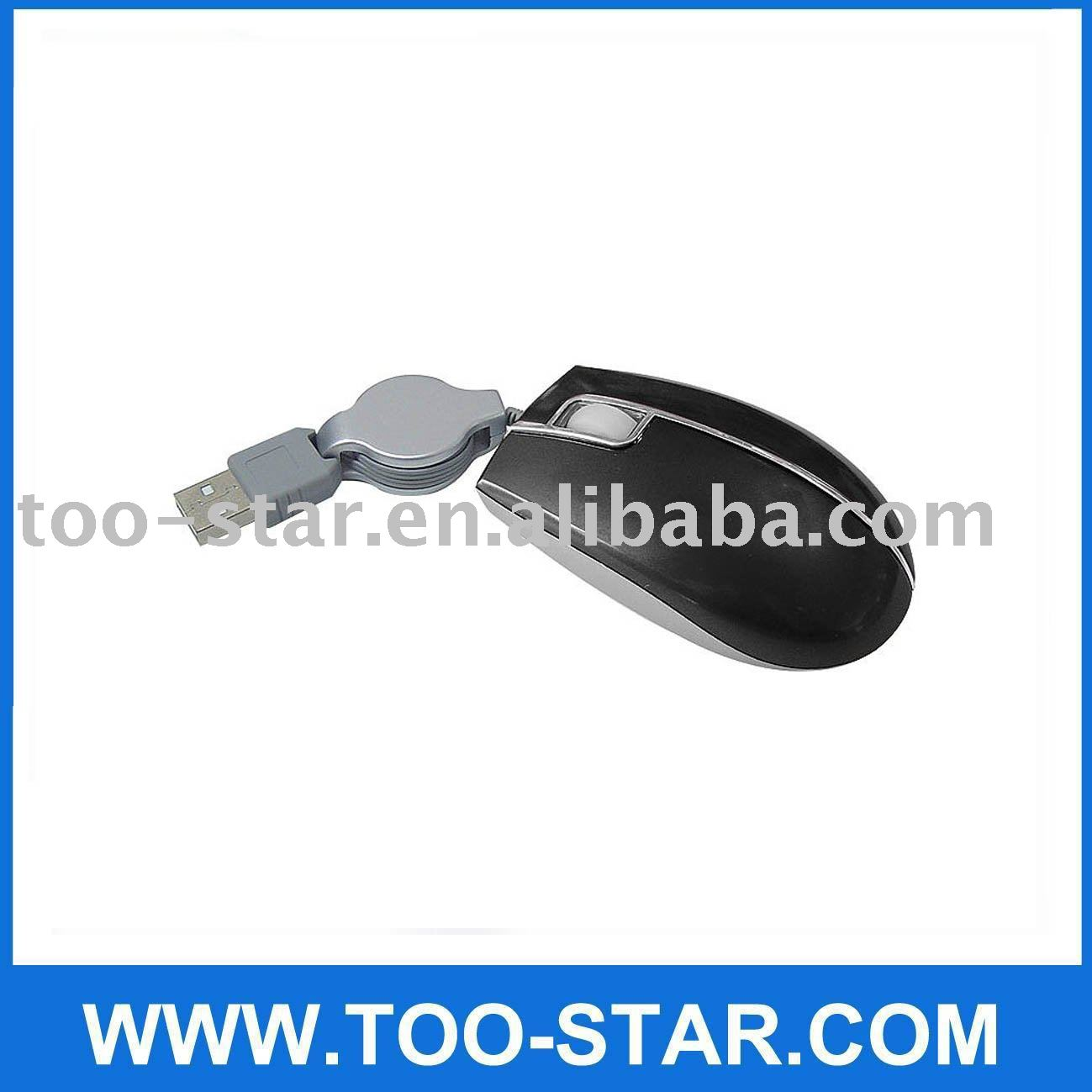 MINI USB optical mouse with retractable cable for notebook laptop pc mice