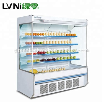 LVNI high-quality 2m 2.5m 3m length supermarket vegetable and fruit display fridge refrigerator with air curtain