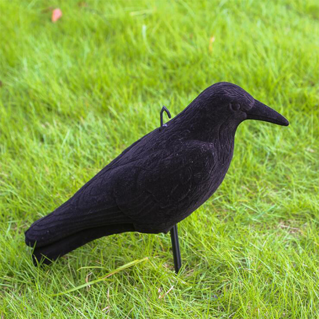 Flocked coated plastic bird hunting decoy crow decoy
