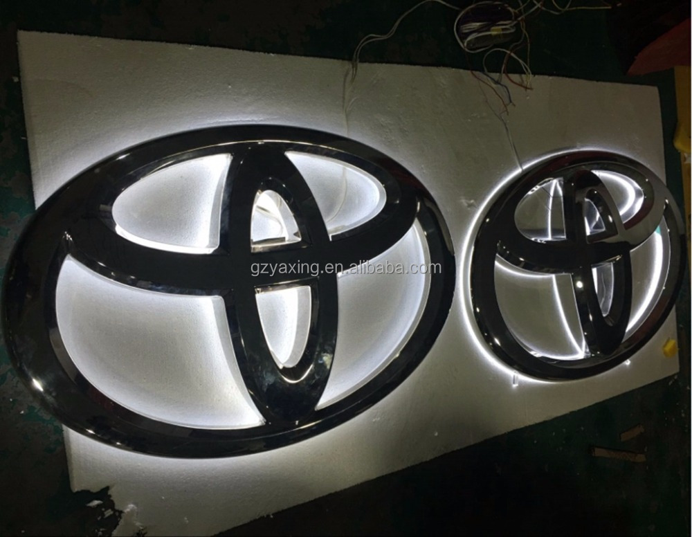 Guangzhou outdoor custom made led metal toyota logos for cars