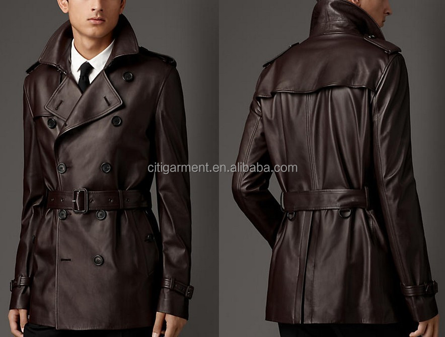 Men's Classic Leather Trench Coat - Buy Black Leather Trench Coat ...