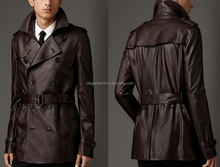 Men's Classic Leather Trench Coat