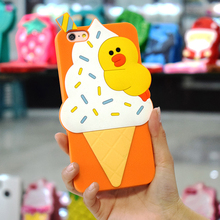 Cell Phone Case Manufacturers Yellow Duck Ice Cream Mobile Back Cover Skin For Apple Iphone 6 Plus