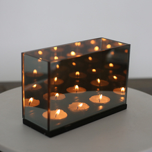 4126 creative replacement wood bar restaurant romantic votive reflective square magic tea light mirror glass candle holder