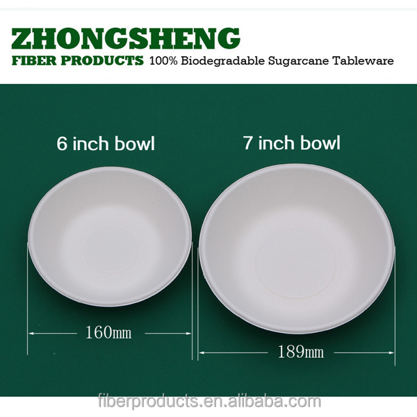 cheapest price sugarcane pulp material 6'' bowl