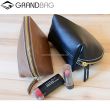 High Quality Small Genuine Leather Change Purse Cosmetic Bag Makeup Case for Ladies