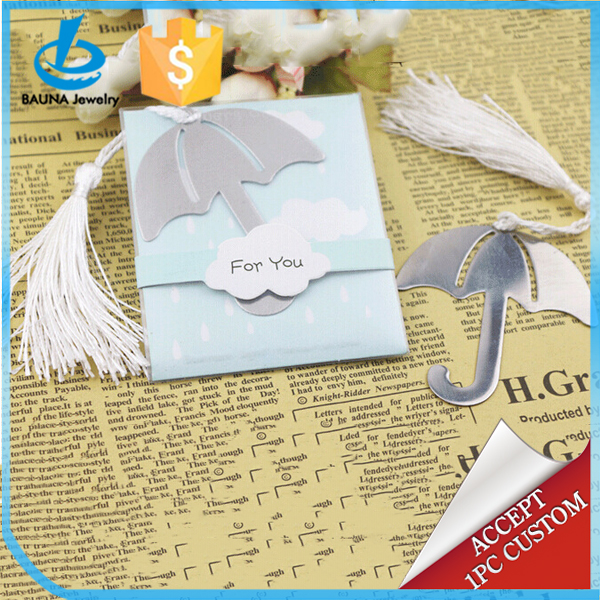 Chic umbrella shaped metal bookmarks for promotion