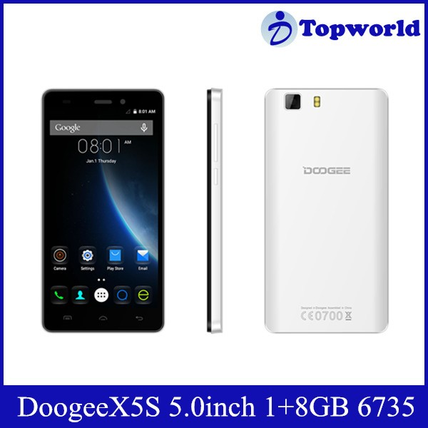Latest Phone 5.0inch Doogee X5S Android 5.1MTK6735P 1GB RAM 8GB ROM 2+5MP Camera Cell Phone Mobile