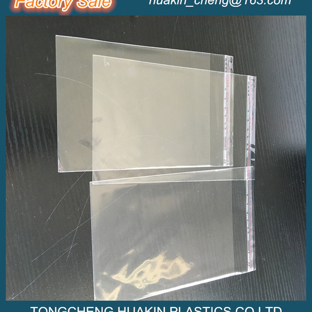 factory sale crystal BOPP CPP plastic self seal bag with flap at top