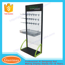 metal wire free standing glove hanging display rack with hook