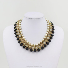 2015 Fashion statement necklace pearl beaded chunky necklace