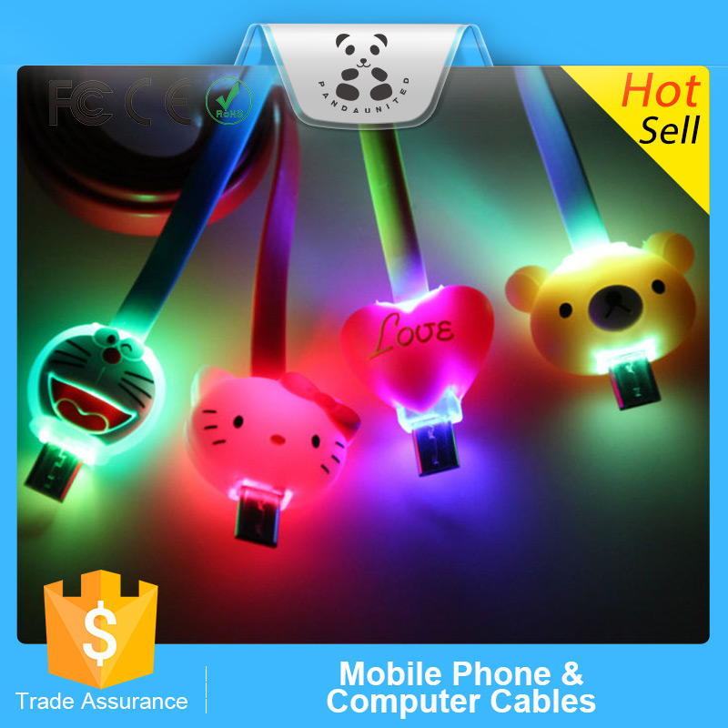 LED cartoon flashing retractable usb multi charger data cable