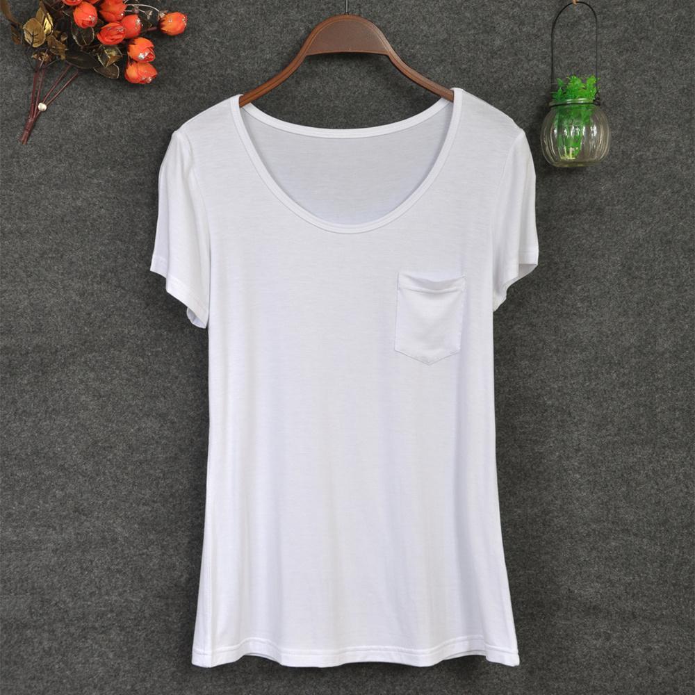 2015 Fashion Design Ladies Loose Neck T Shirts Scoop Deep