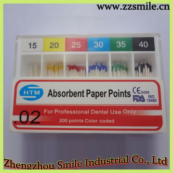 CE/ISO/FDA Approved Color Coded Sterilized HTM 02 Taper Dental Absorbent Paper Points