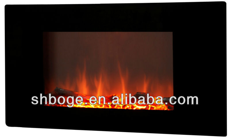 Glass indoor led curved wall mounted modern fireplace