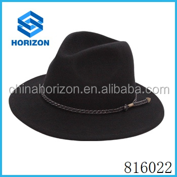 100% Australia wool hat British gentleman and a waved rope decoration fedora hats