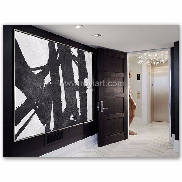 Extra large black and white art acrylic oil painting on canvas
