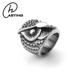 Factory Cheap Wholesale Exaggerated Stainless Steel Owl Ring