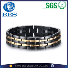 Mens Hand Chain Black Double Row Gold Plated Bio Magnetic Bracelet 15mm Wide Stainless Steel Bracelets For Man Health Energy