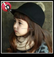 kids children wool felt Equestrian Cap hat with Pompom on top