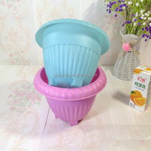 Two Types Colorful Colorful PP Plastic Flower Pot For Garden
