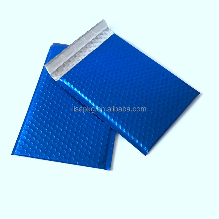 Custom blue/green/red Metallic Aluminum Foil Air Bubble Mailing Bags and envelopes