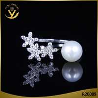 New design personality CZ diamond three flower pearl silver rings
