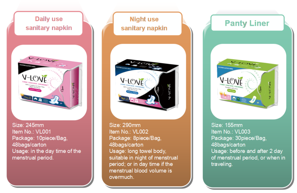 cheap price anion fuctional Vlove sanitary napkin
