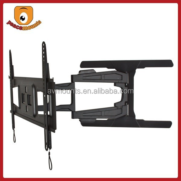 "For 32""-65"" (Black) features Double, Articulating Arm, Integrated Tilt/Swivel Slim Full Motion wall mounted tv cabinets"