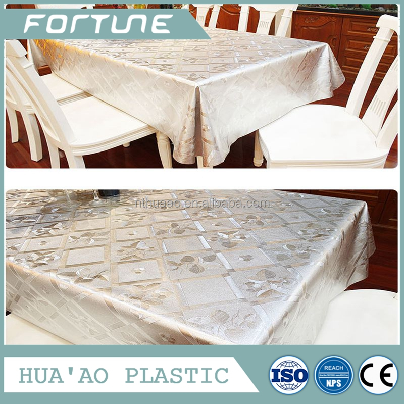 transparent tablecloth vinyl lace tablecloth coated film custom printed plastic tablecloth