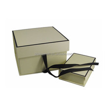 Customized Rigid Magnetic Closure Cardboard Gift Box Ribbon