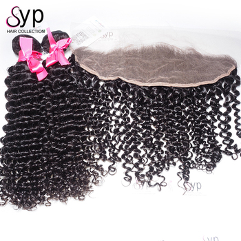100 % Human Virgin Burmese Deep Curly Extensions For Natural Hair Grade 9A with Swiss Lace Frontal