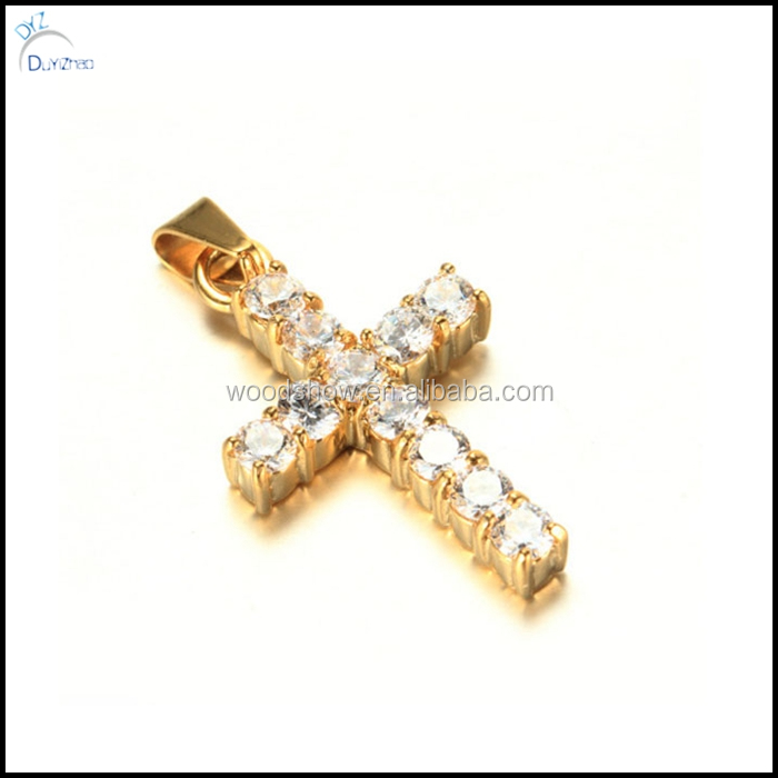 Hot sell Hip hop cz stainless steel cross pendant