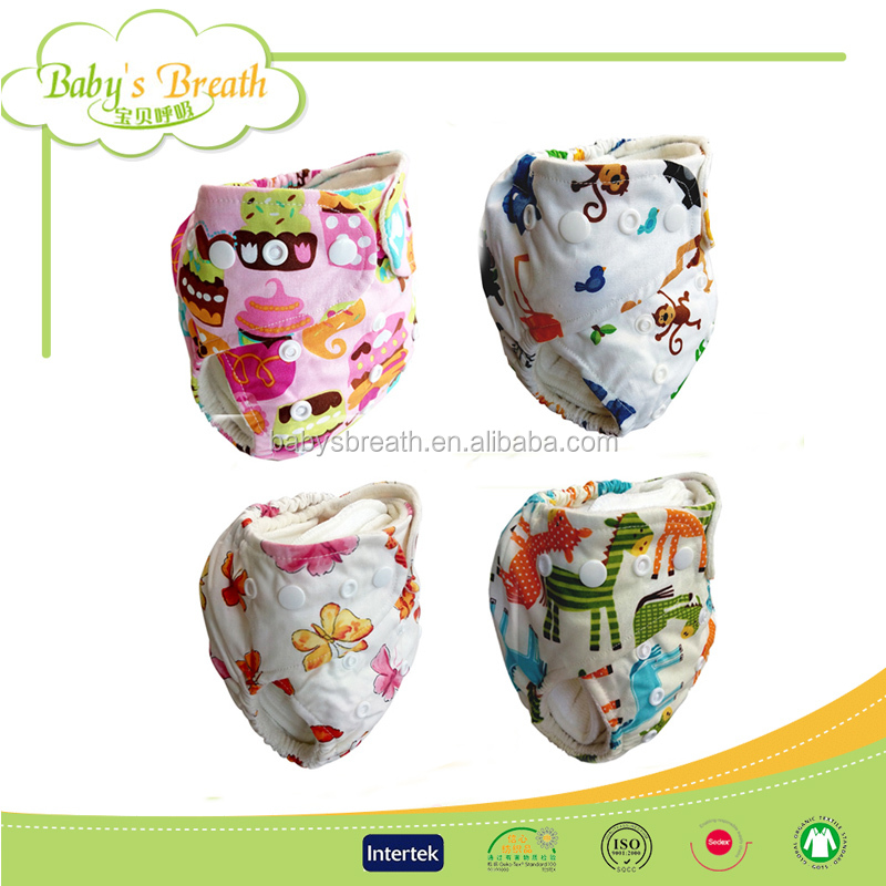 CBM139A printed babies organic prefold bamboo cotton cloth diapers wholesale